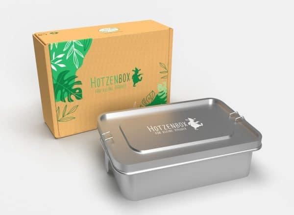Modelldarstellung der Hotzenbox Edelstahl Brotdose vor der Umverpackung