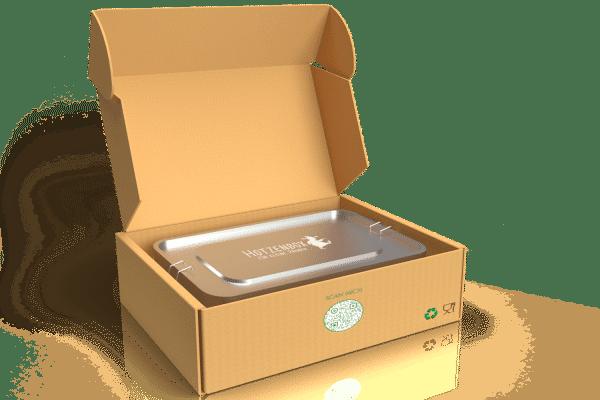 Hotzenbox Edelstahl Brotdose in der geöffneten Umverpackung